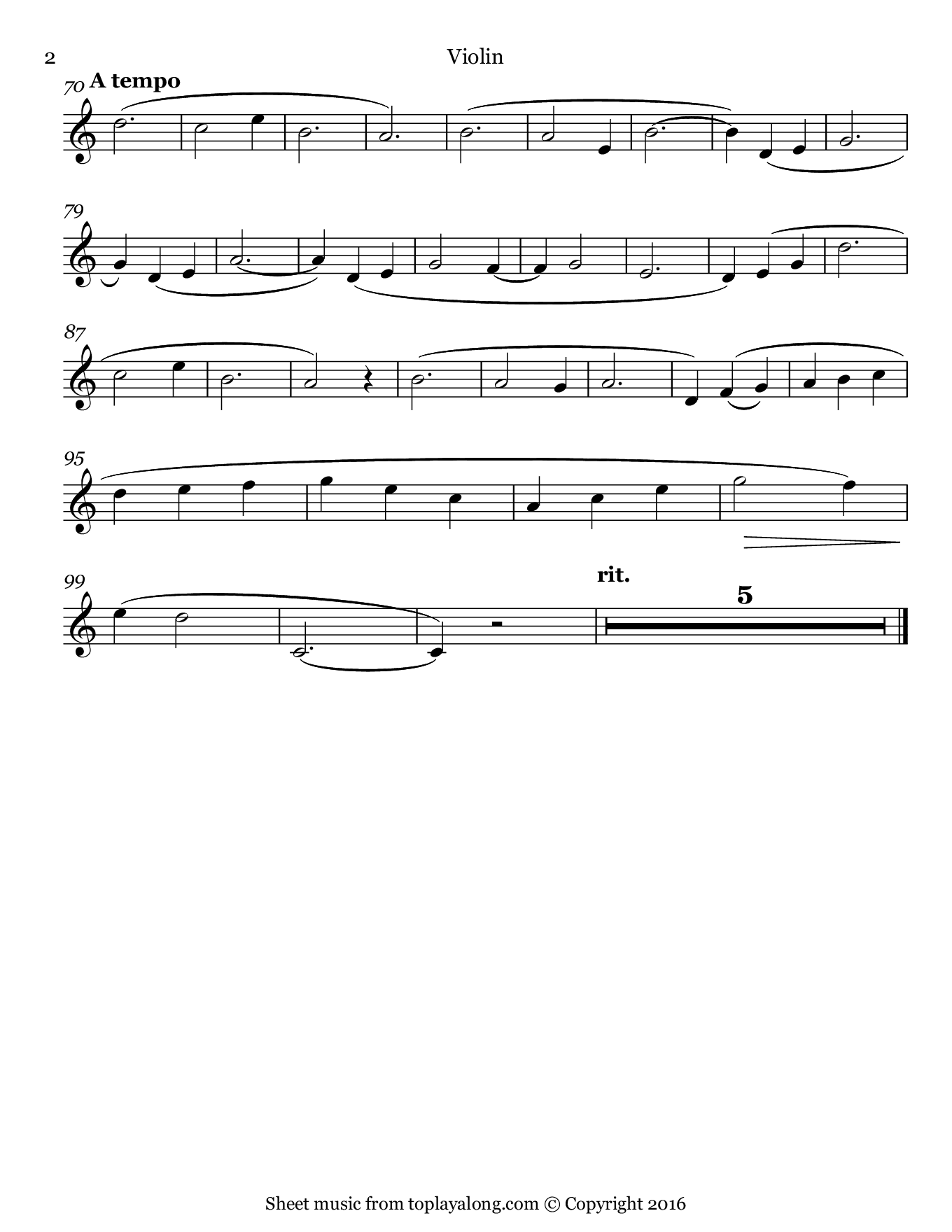 Je te veux by Satie. Sheet music for Violin, page 2.