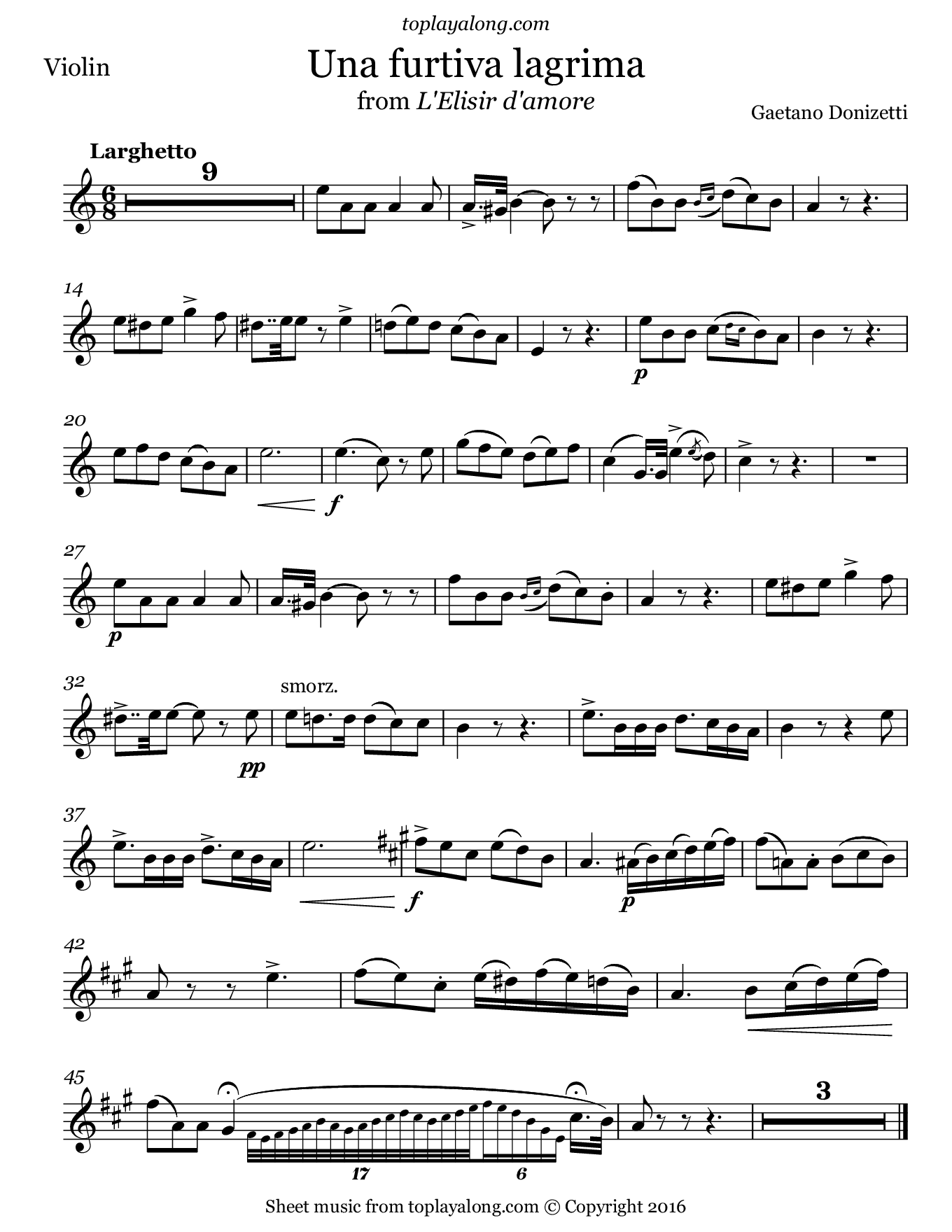 Una furtiva lagrima from L'elisir d'amore by Donizetti. Sheet music for Violin, page 1.