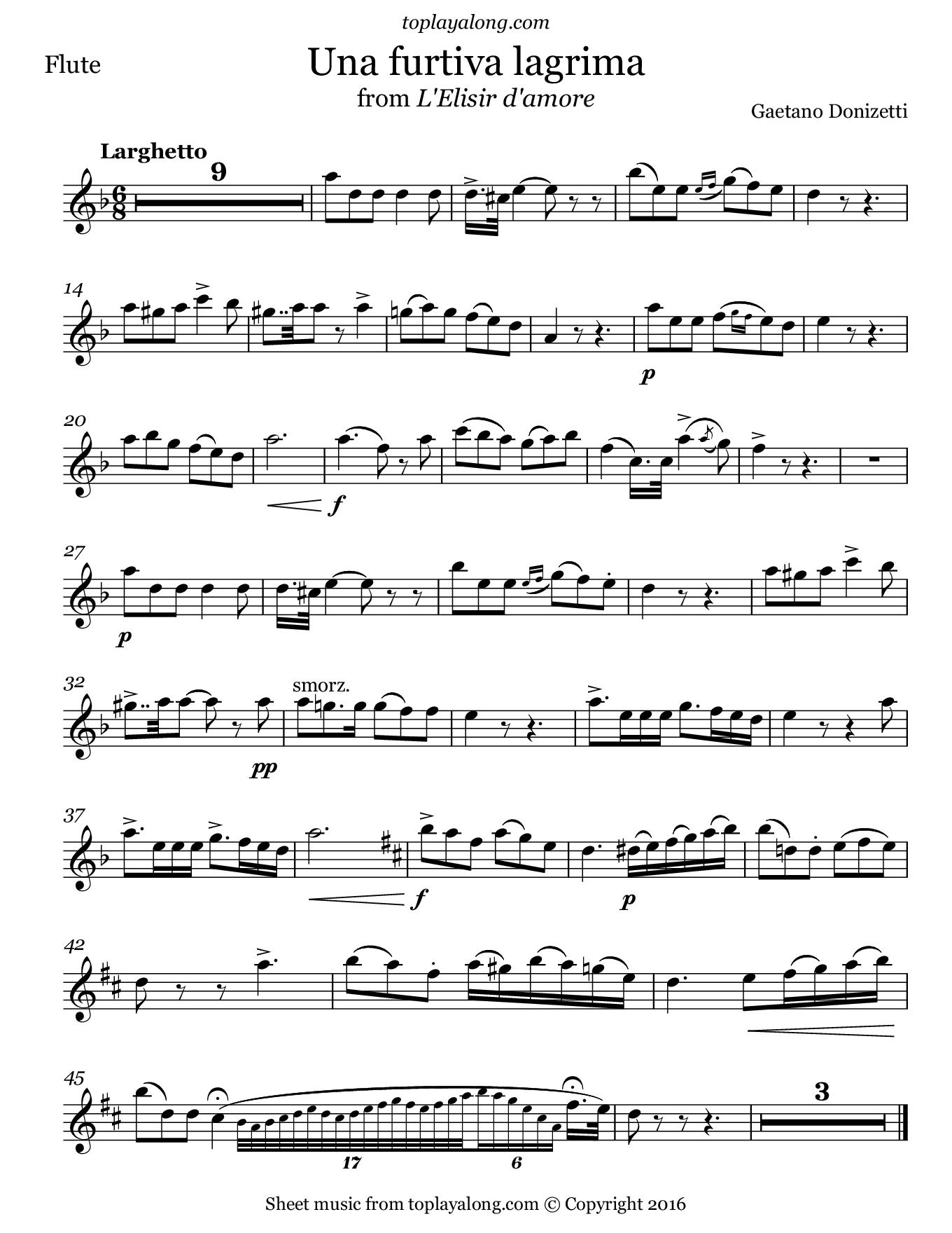 Una furtiva lagrima from L'elisir d'amore by Donizetti. Sheet music for Flute, page 1.