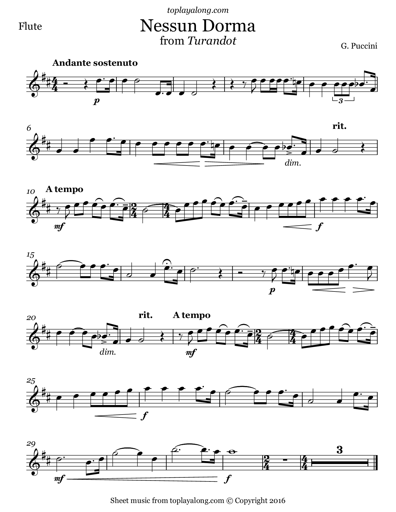 Nessun Dorma from Turandot by Puccini. Sheet music for Flute, page 1.