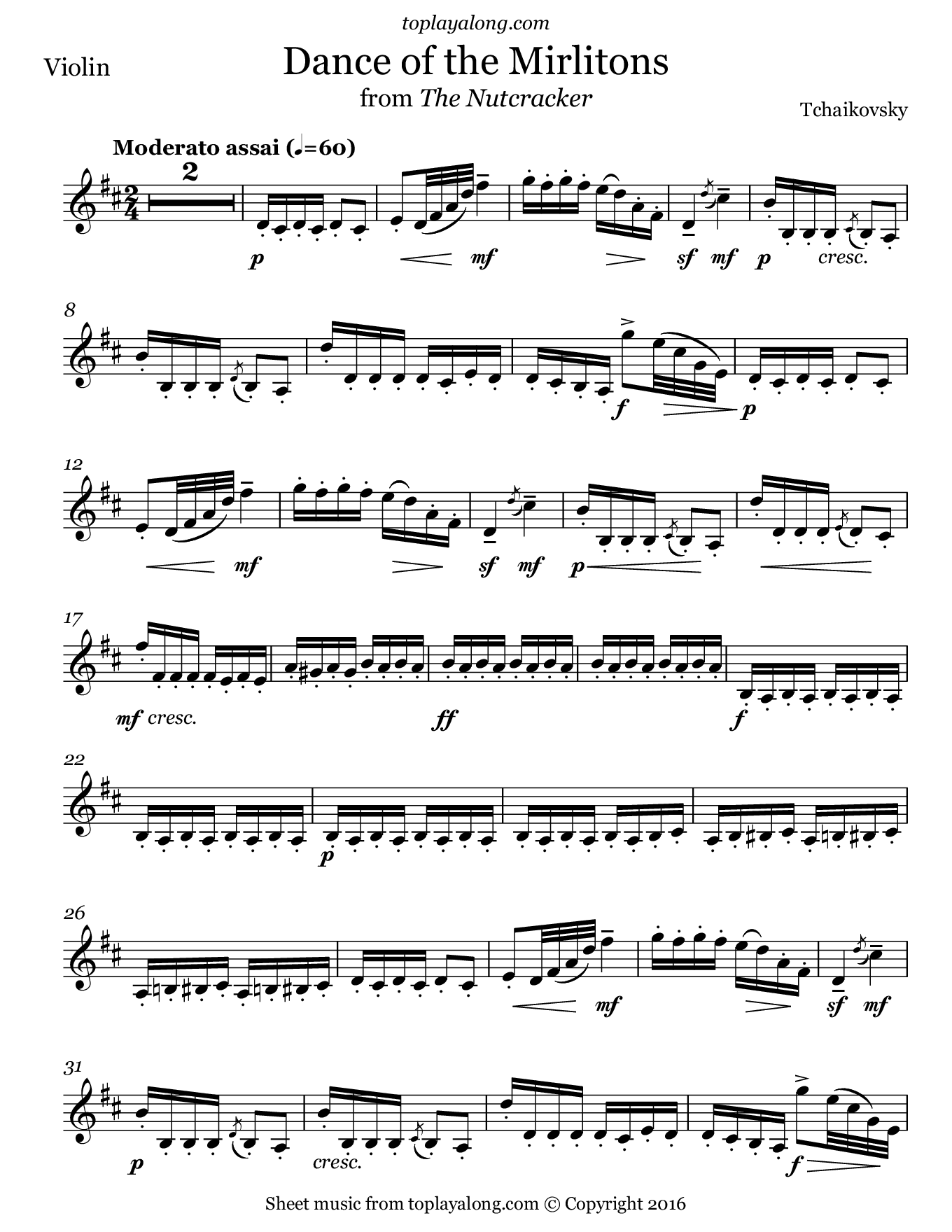 Dance of the Mirlitons from The Nutcracker by Tchaikovsky. Sheet music for Violin, page 1.