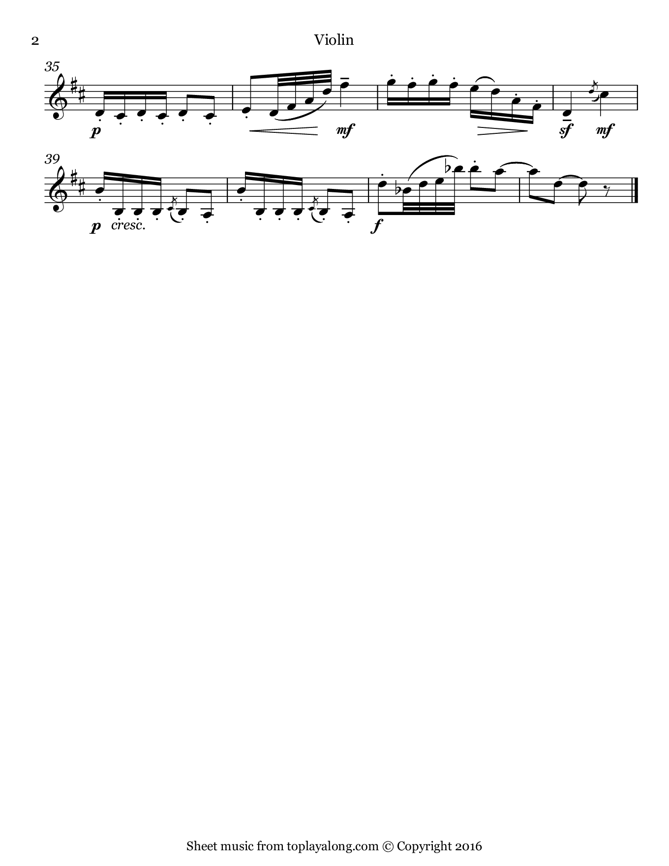 Dance of the Mirlitons from The Nutcracker by Tchaikovsky. Sheet music for Violin, page 2.