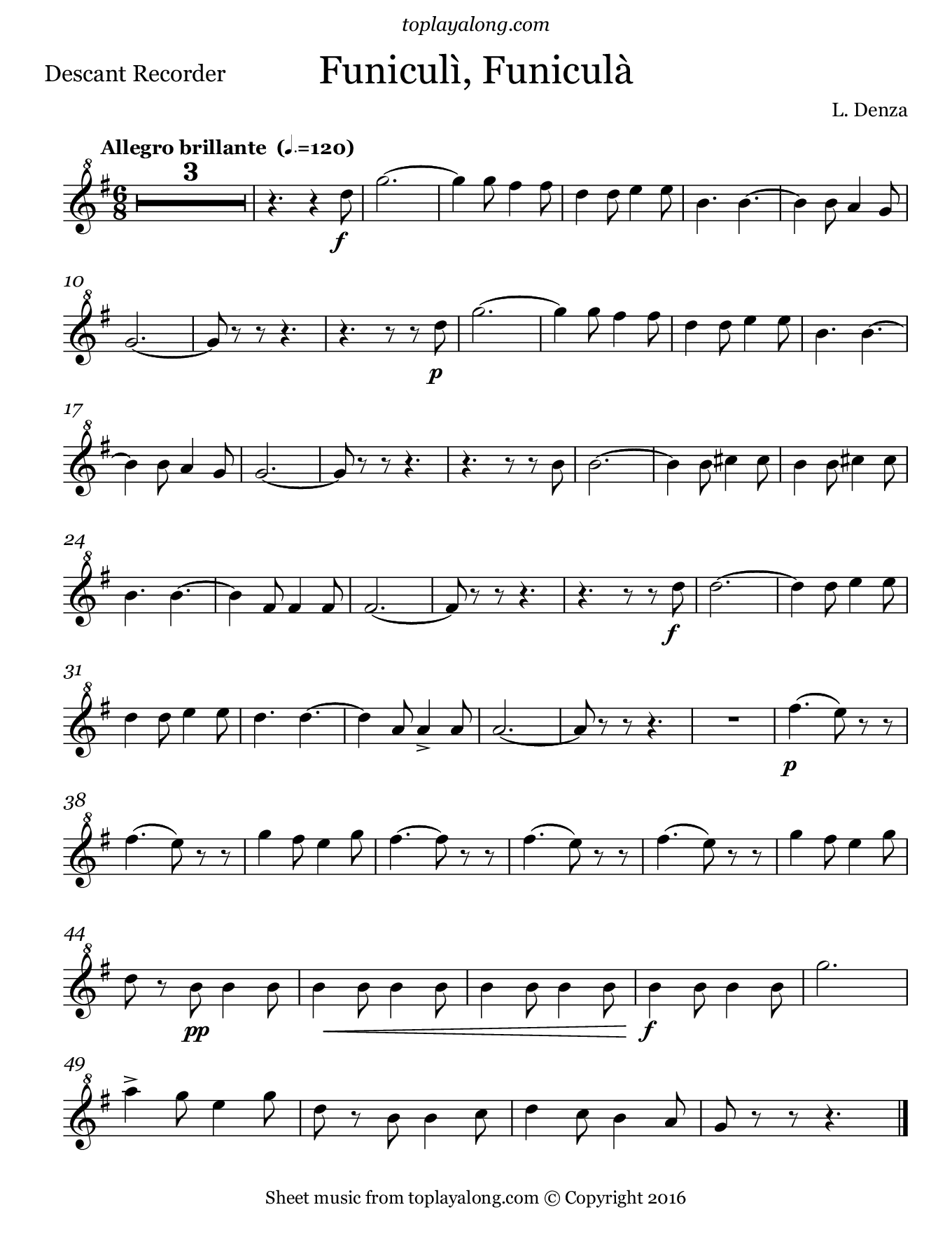 Funiculì, Funiculà by Denza. Sheet music for Recorder, page 1.
