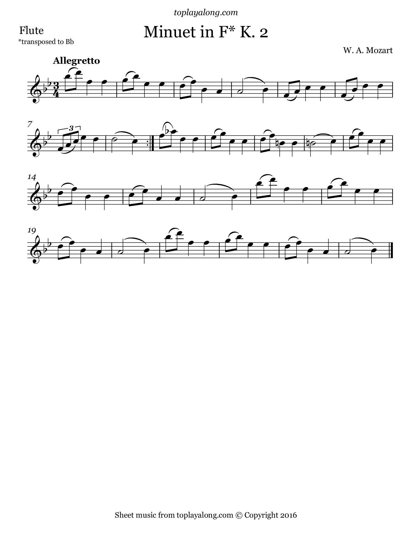 Minuet in F K. 2 by Mozart. Sheet music for Flute, page 1.