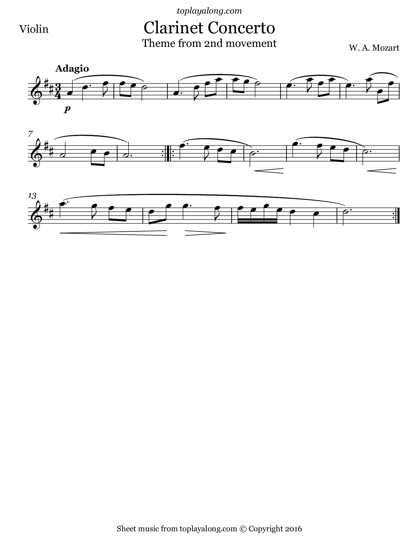 Clarinet Concerto 2nd mvt. (Theme) by Mozart. Sheet music for Violin, page 1.