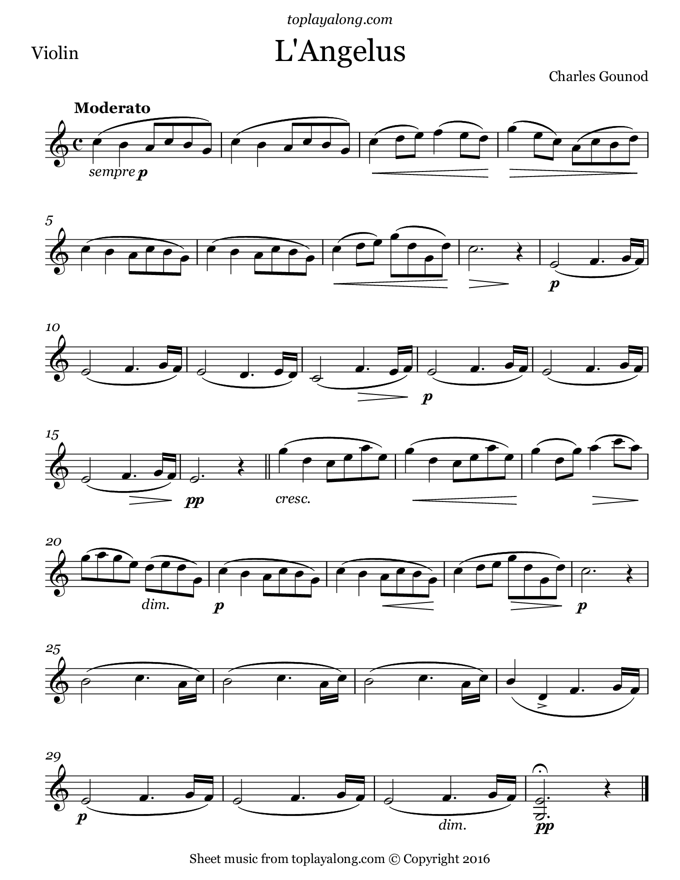L'Angelus by Gounod. Sheet music for Violin, page 1.