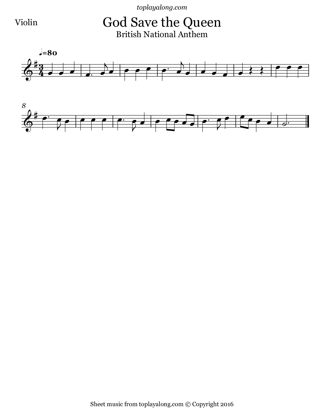 British National Anthem - God Save the Queen. Sheet music for Violin, page 1.
