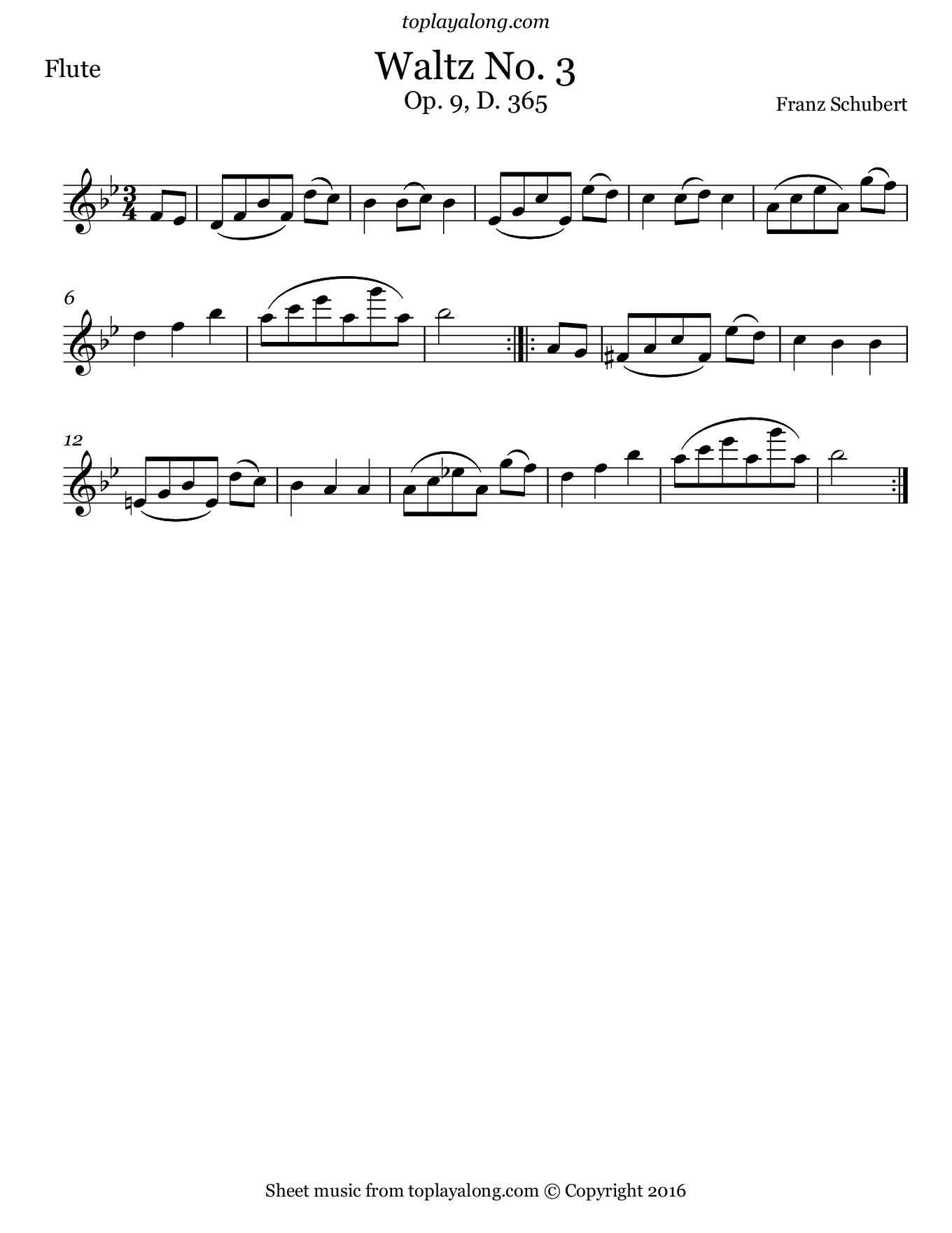 Waltz No. 3 Op. 9 D. 365 by Schubert. Sheet music for Flute, page 1.