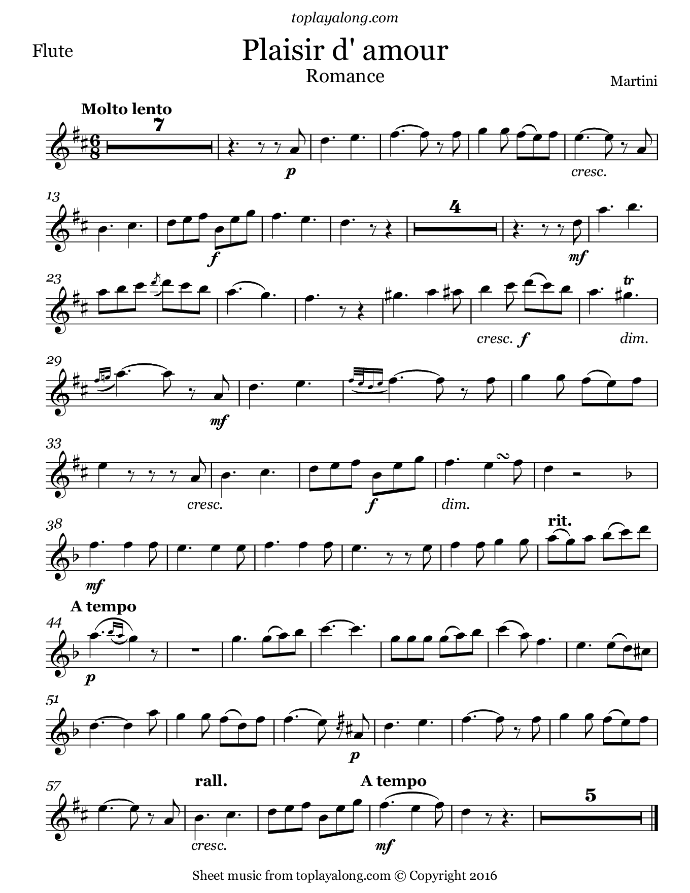 Plaisir d'amour by Martini. Sheet music for Flute, page 1.