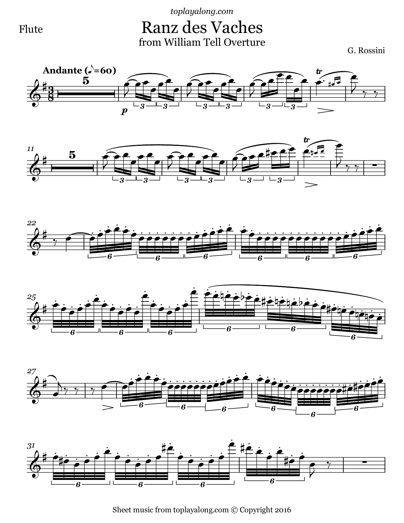Ranz des Vaches from William Tell Overture by Rossini. Sheet music for Flute, page 1.