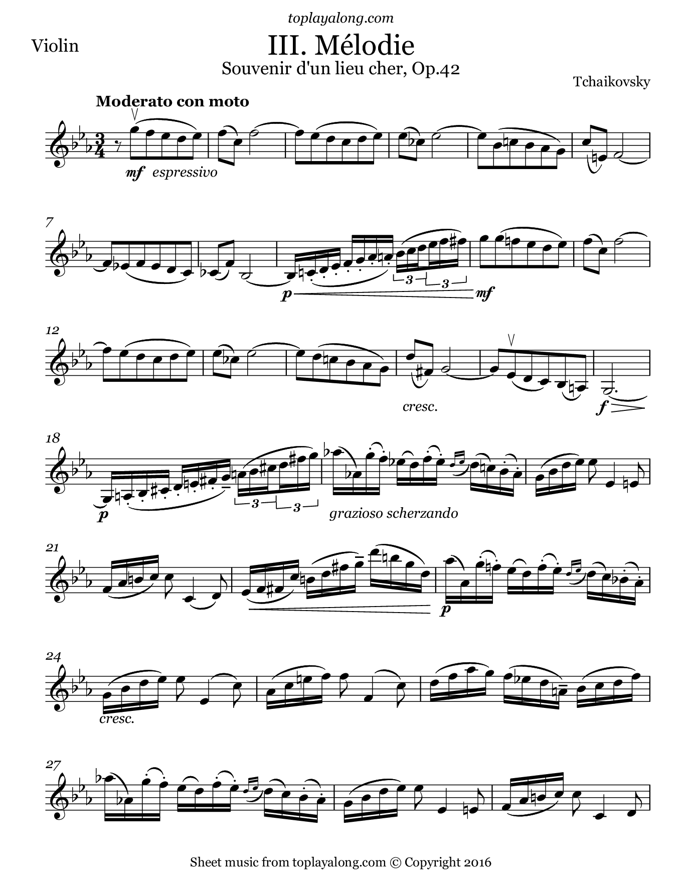 Mélodie Op. 42 No. 3 by Tchaikovsky. Sheet music for Violin, page 1.