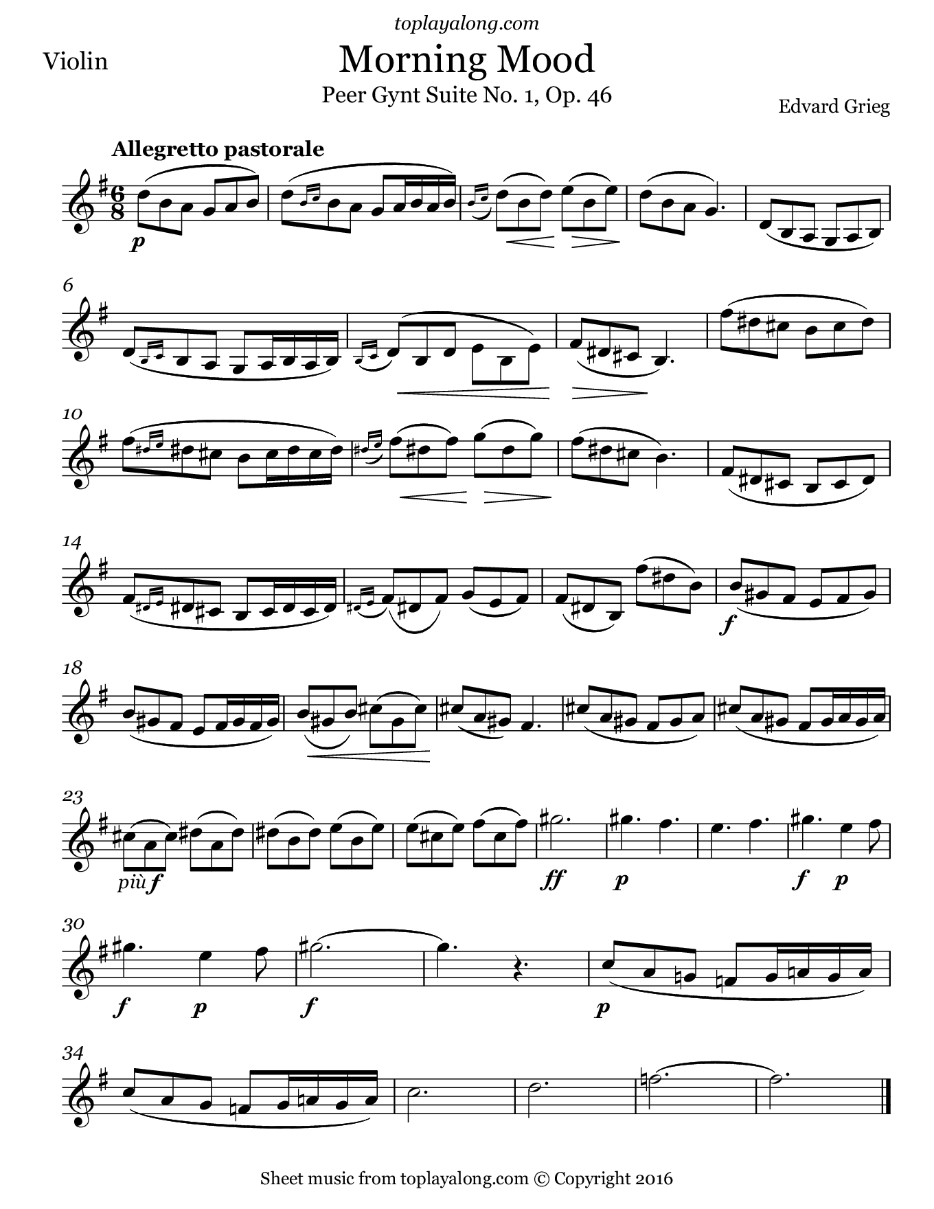 Morning Mood from Peer Gynt by Grieg. Sheet music for Violin, page 1.