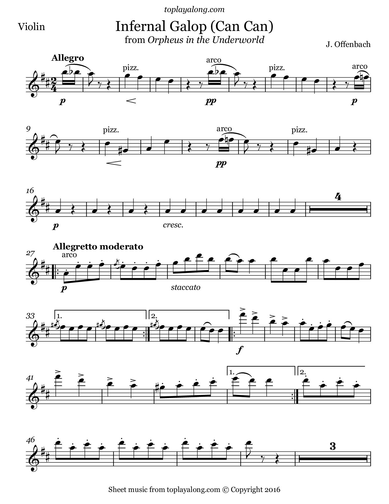 Infernal Galop (Can Can) from Orpheus by Offenbach. Sheet music for Violin, page 1.