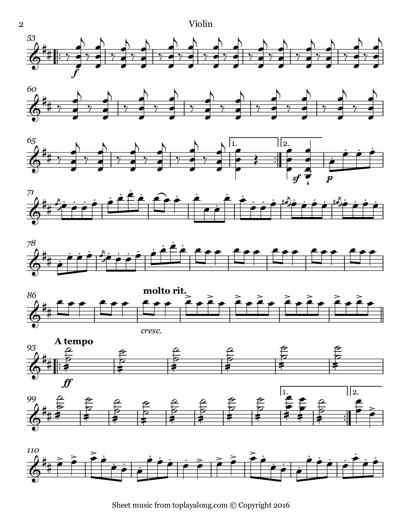Infernal Galop (Can Can) from Orpheus by Offenbach. Sheet music for Violin, page 2.