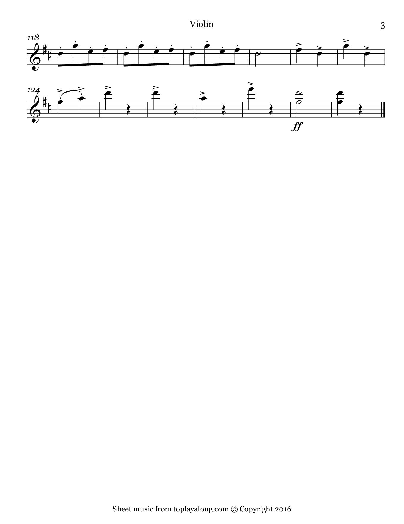 Infernal Galop (Can Can) from Orpheus by Offenbach. Sheet music for Violin, page 3.