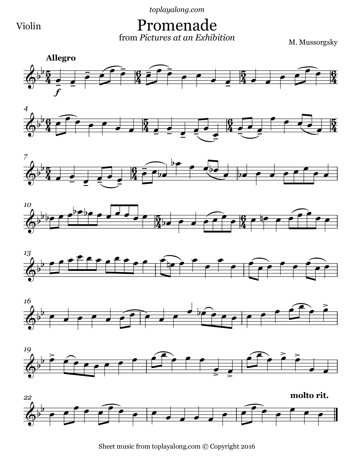 Promenade from Pictures at an Exhibition by Mussorgsky. Sheet music for Violin, page 1.
