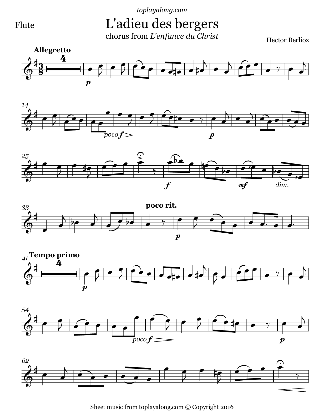 L'adieu des bergers from L'enfance du Christ by Berlioz. Sheet music for Flute, page 1.