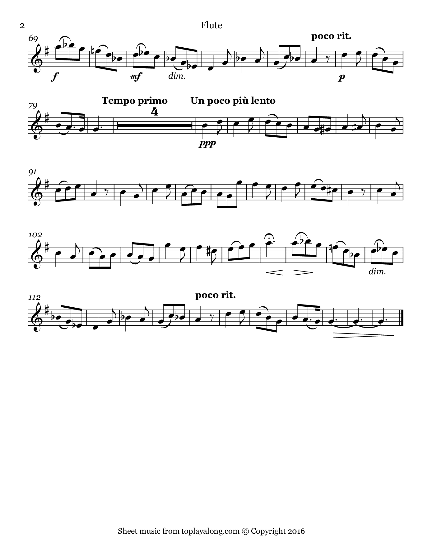L'adieu des bergers from L'enfance du Christ by Berlioz. Sheet music for Flute, page 2.