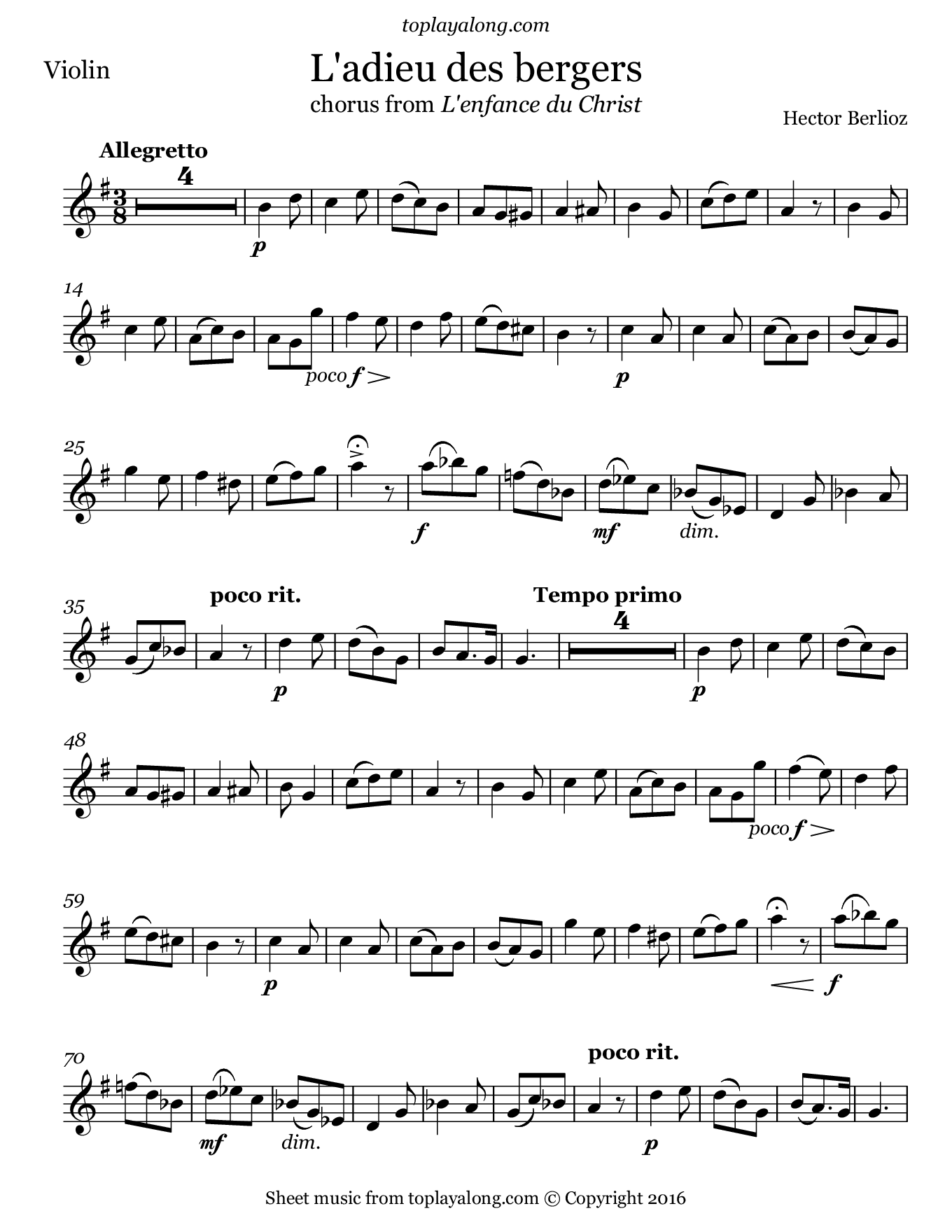L'adieu des bergers from L'enfance du Christ by Berlioz. Sheet music for Violin, page 1.