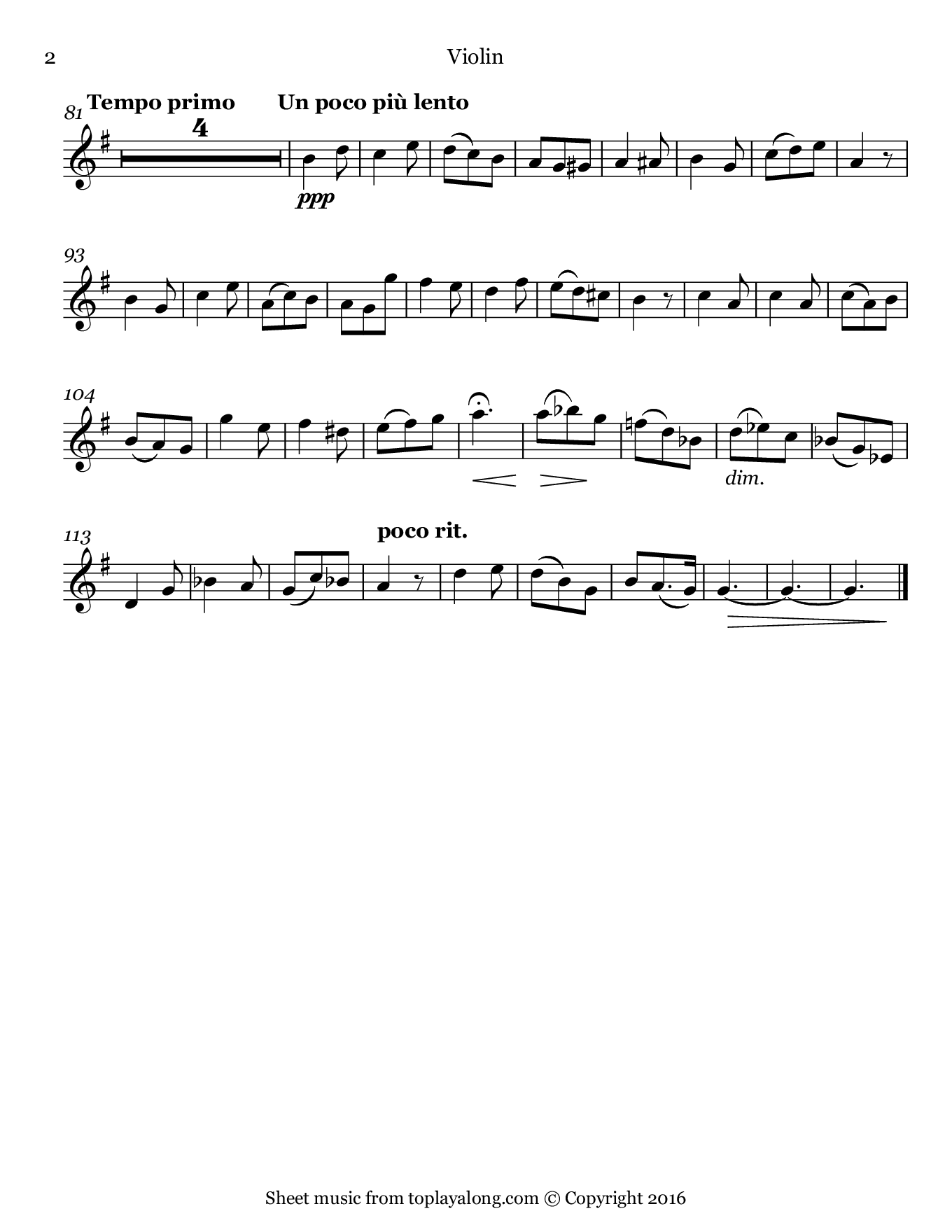 L'adieu des bergers from L'enfance du Christ by Berlioz. Sheet music for Violin, page 2.