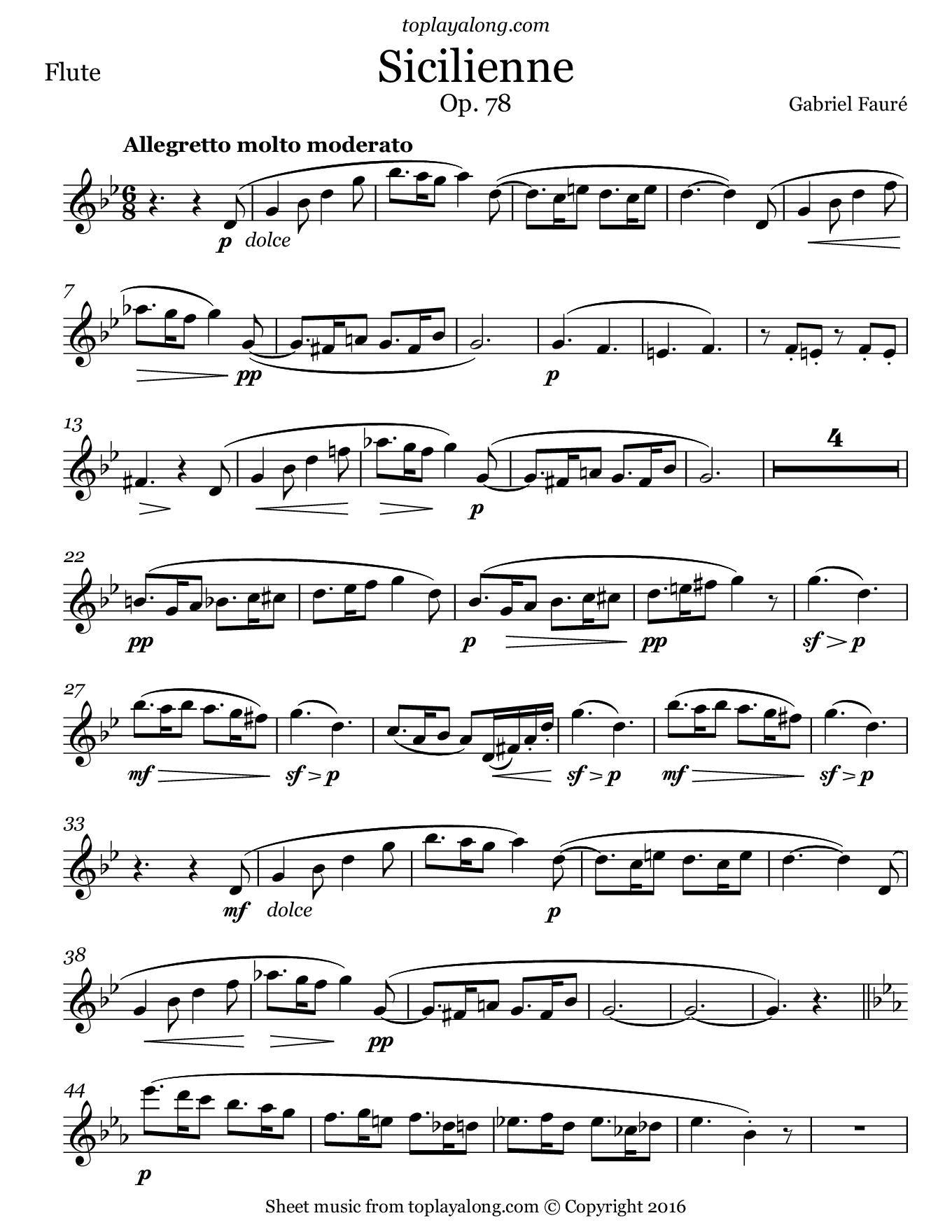 Sicilienne Op. 78 by Fauré. Sheet music for Flute, page 1.