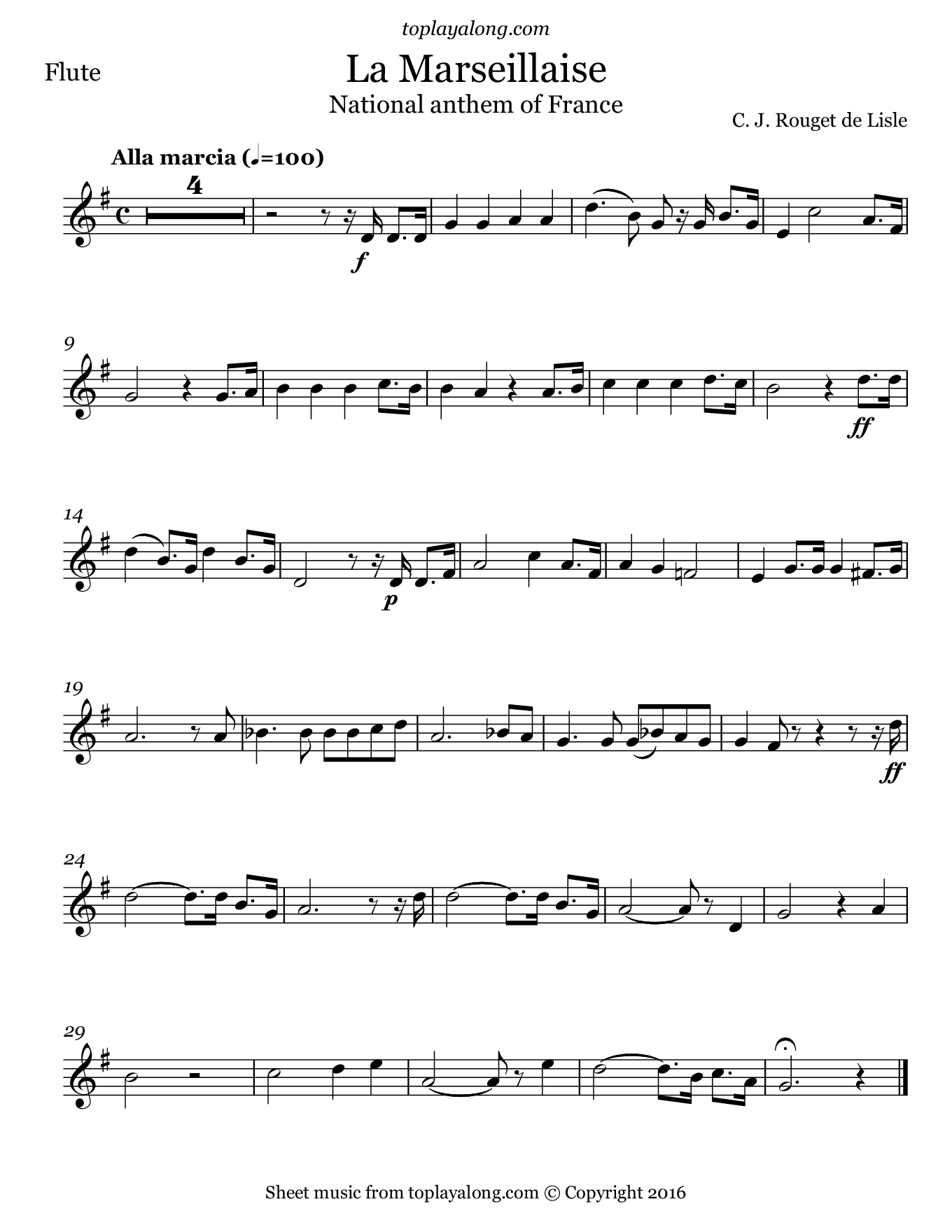National Anthem of France (La Marseillaise). Sheet music for Flute, page 1.