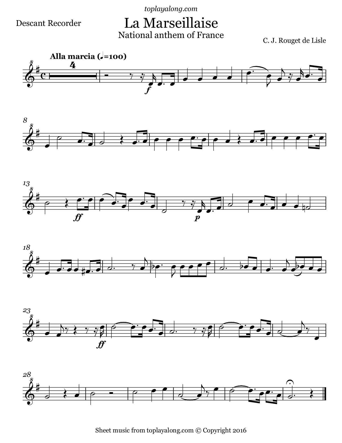 National Anthem of France (La Marseillaise). Sheet music for Recorder, page 1.