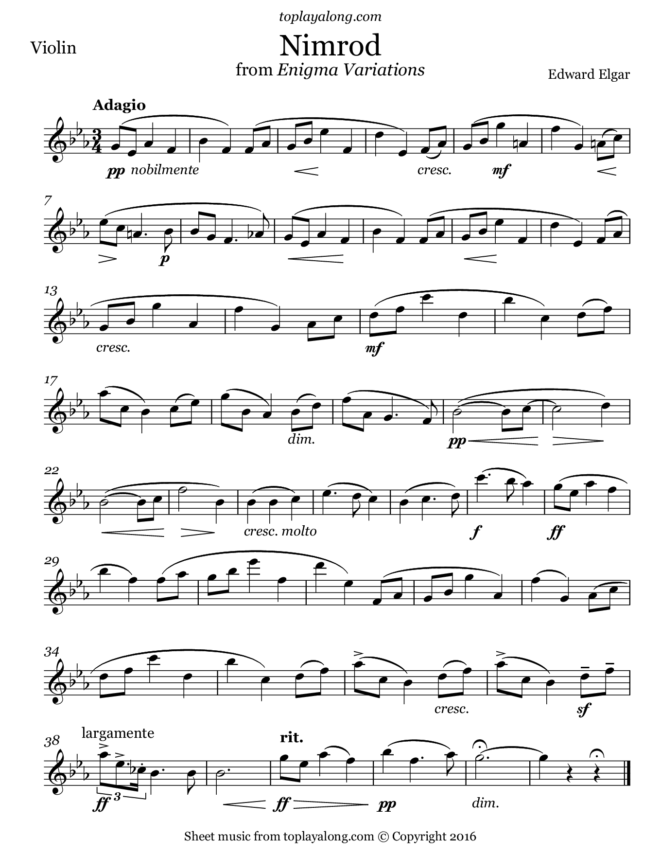 Nimrod from Enigma Variations by Elgar. Sheet music for Violin, page 1.