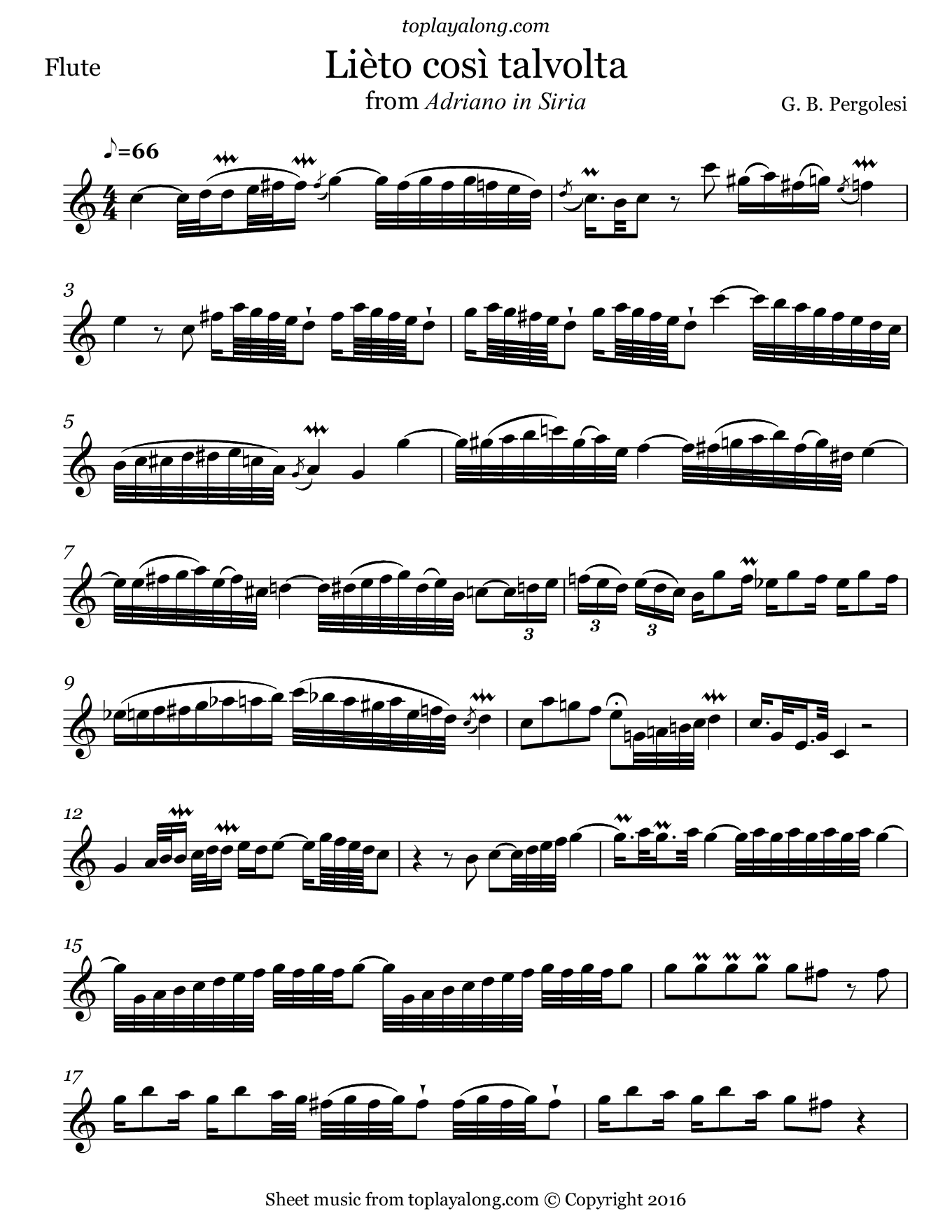 Lièto così talvolta from Adriano in Siria by Pergolesi. Sheet music for Flute, page 1.