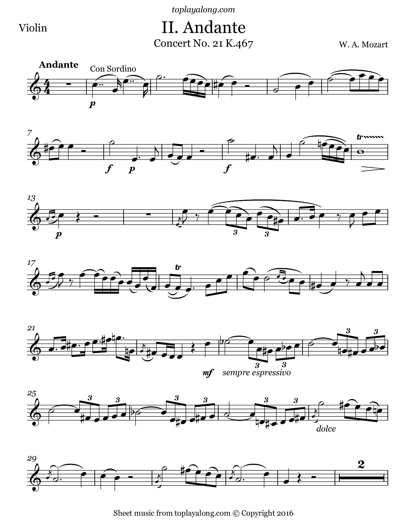 Concerto No. 21 K.467 (2nd Mvt. Theme) by Mozart. Sheet music for Violin, page 1.