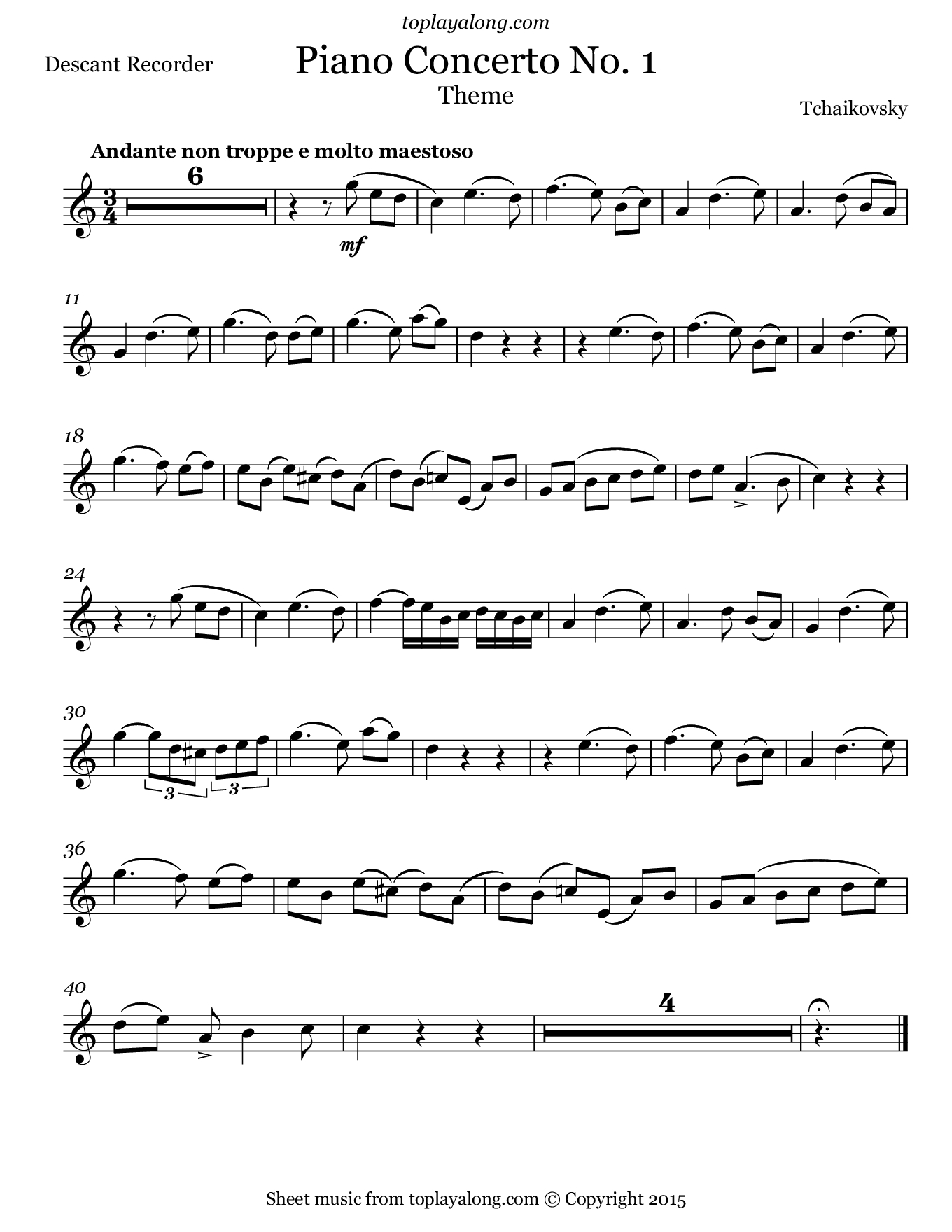 Theme from Piano Concerto No. 1 by Tchaikovsky. Sheet music for Recorder, page 1.