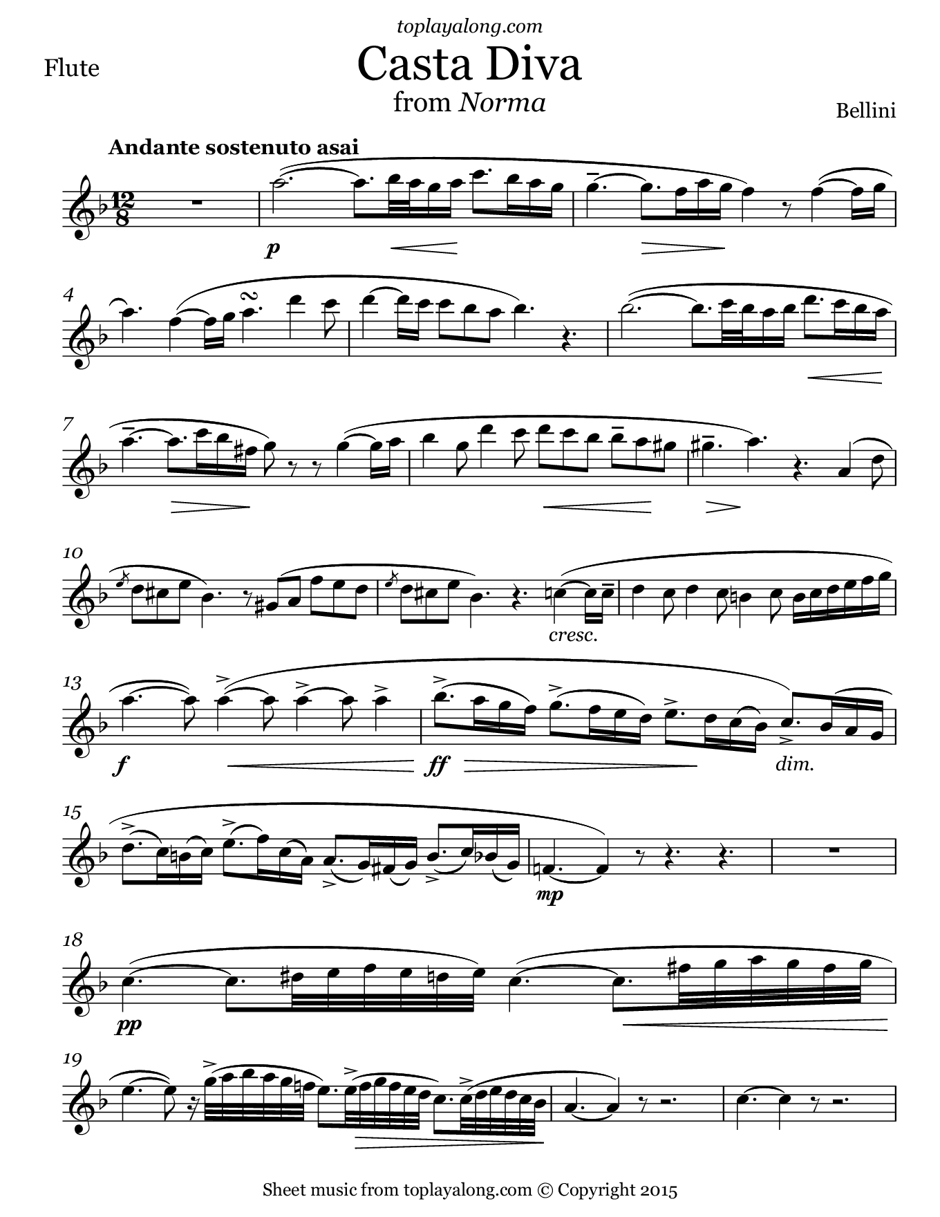 Casta Diva from Norma by Bellini. Sheet music for Flute, page 1.