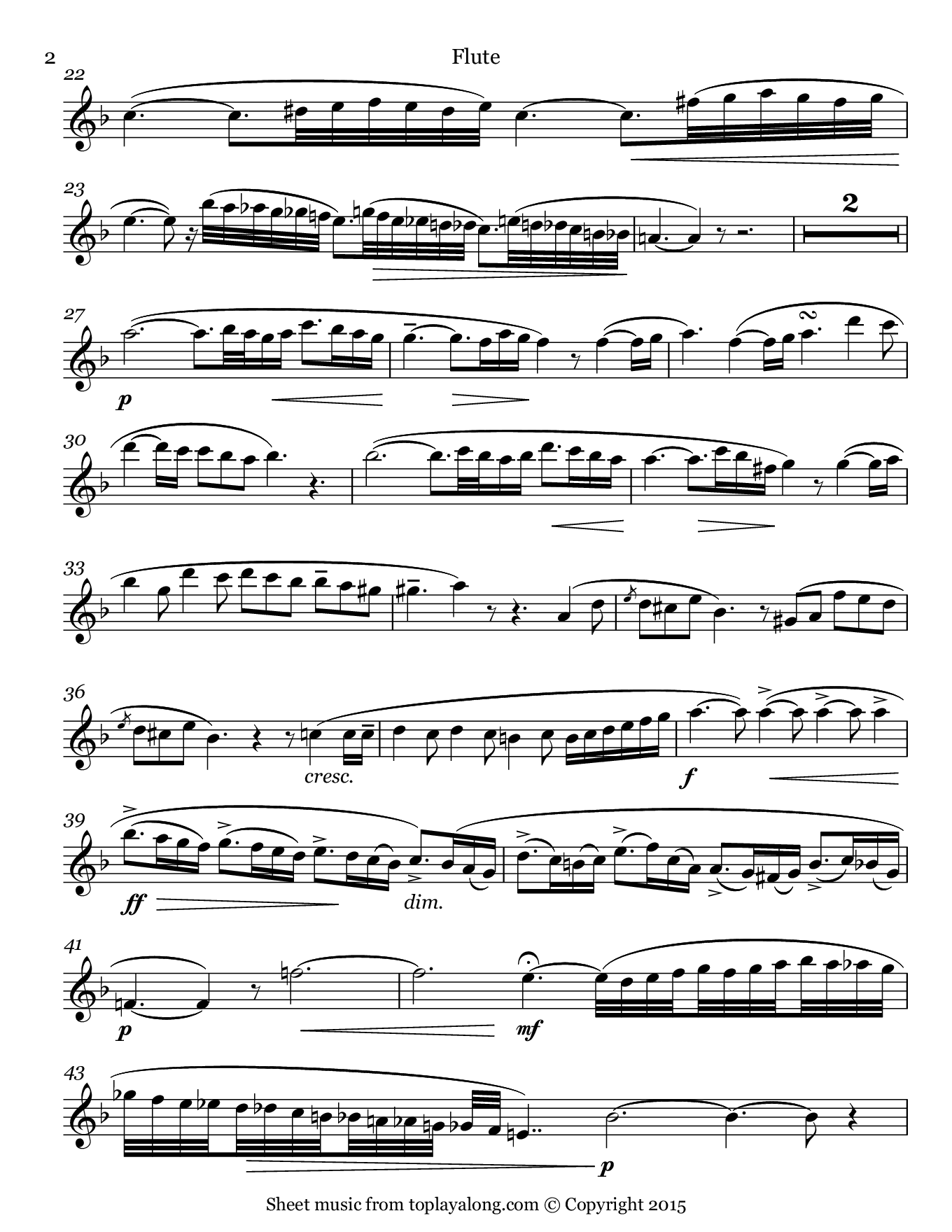 Casta Diva from Norma by Bellini. Sheet music for Flute, page 2.
