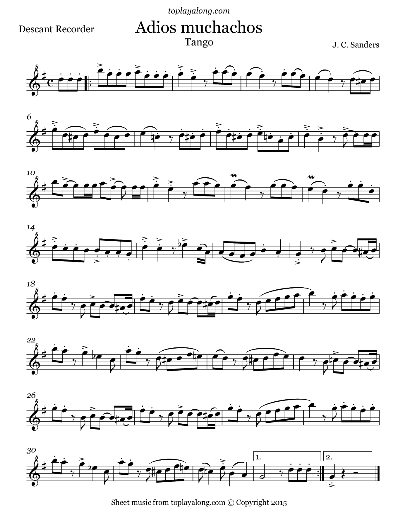 Adios Muchachos by Sanders. Sheet music for Recorder, page 1.