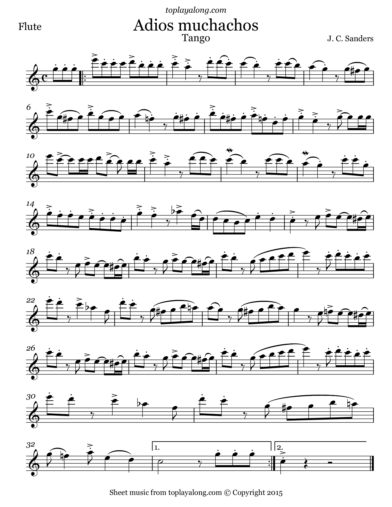 Adios Muchachos by Sanders. Sheet music for Flute, page 1.
