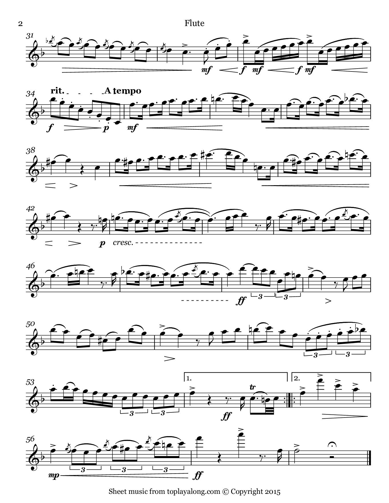 National Anthem of Brazil. Sheet music for Flute, page 2.