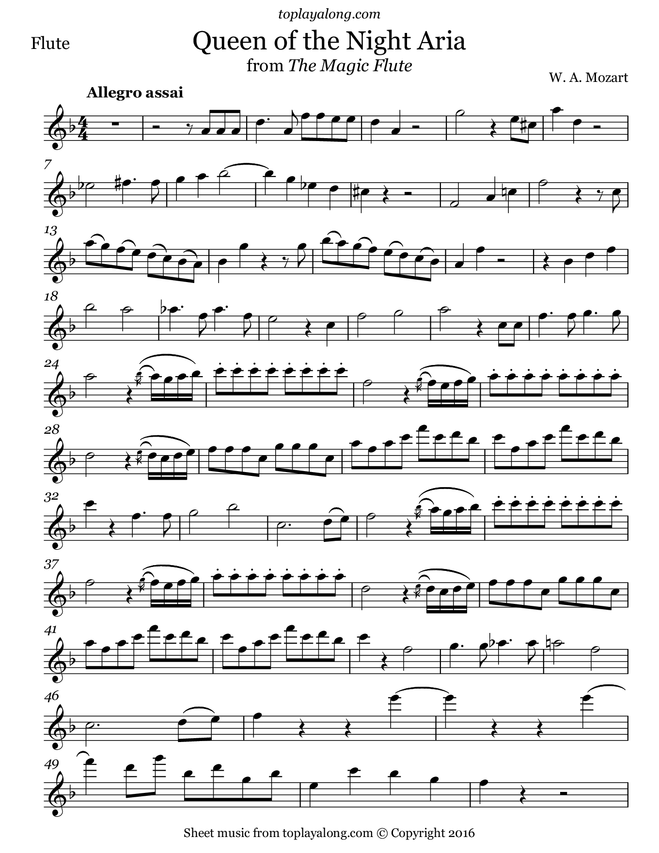 Queen of the Night from The Magic Flute by Mozart. Sheet music for Flute, page 1.