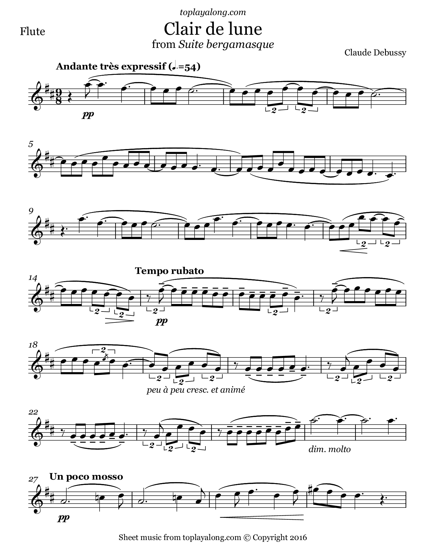 Clair de lune from Suite bergamasque by Debussy. Sheet music for Flute, page 1.