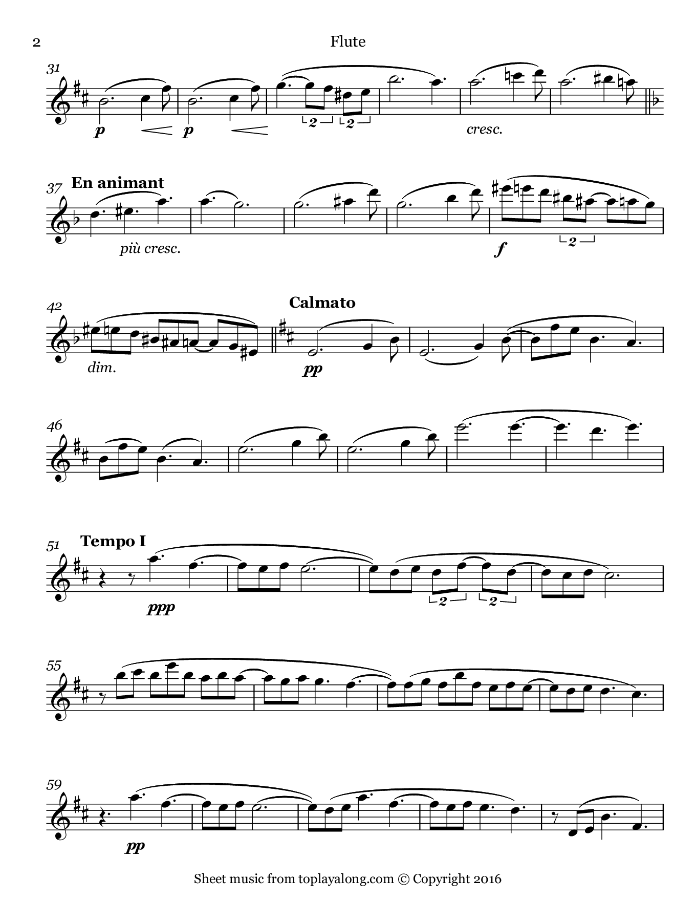 Clair de lune from Suite bergamasque by Debussy. Sheet music for Flute, page 2.