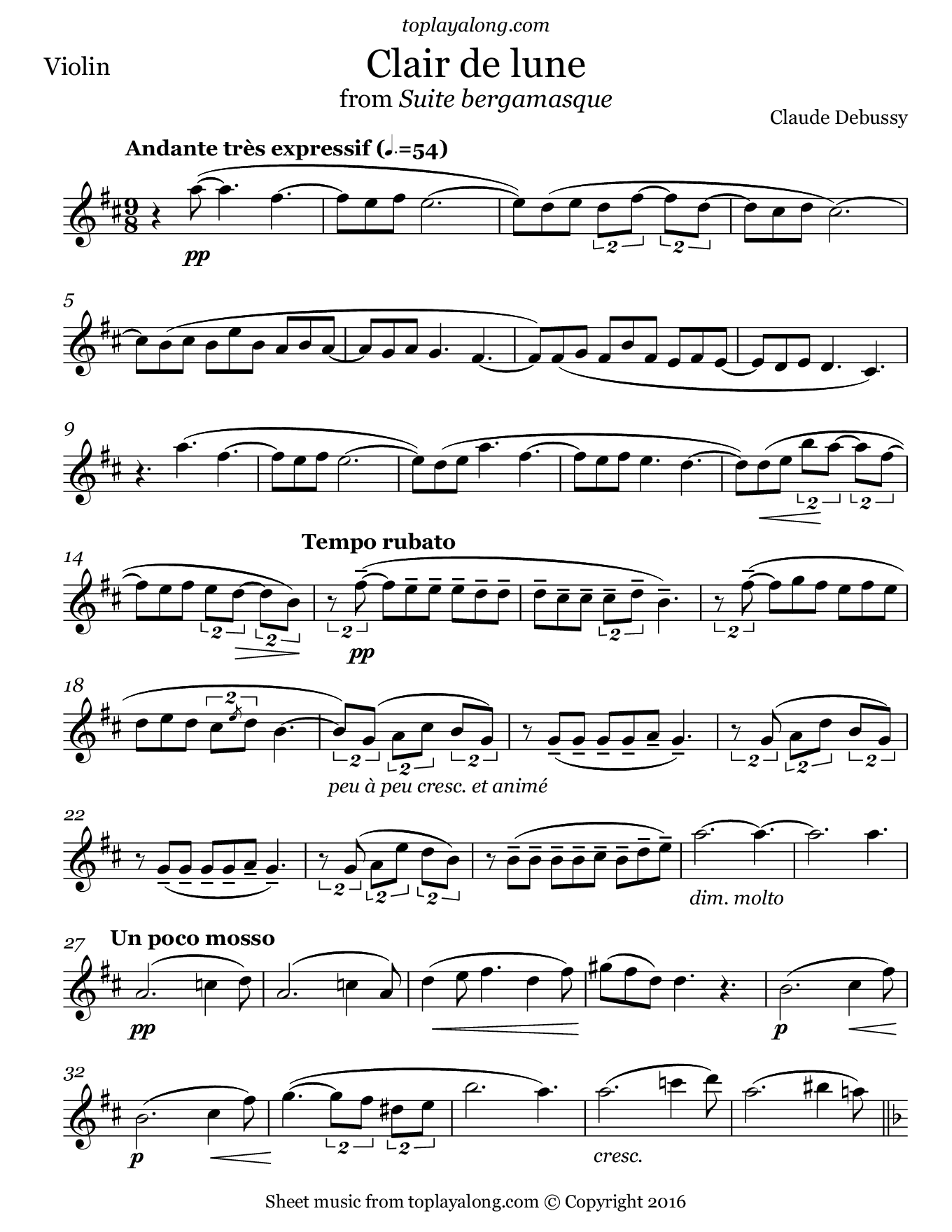 Clair de lune from Suite bergamasque by Debussy. Sheet music for Violin, page 1.
