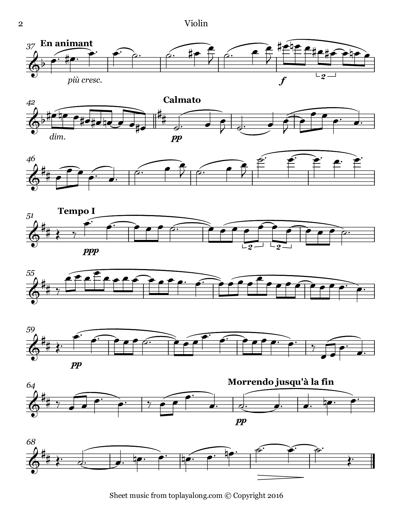 Clair de lune from Suite bergamasque by Debussy. Sheet music for Violin, page 2.