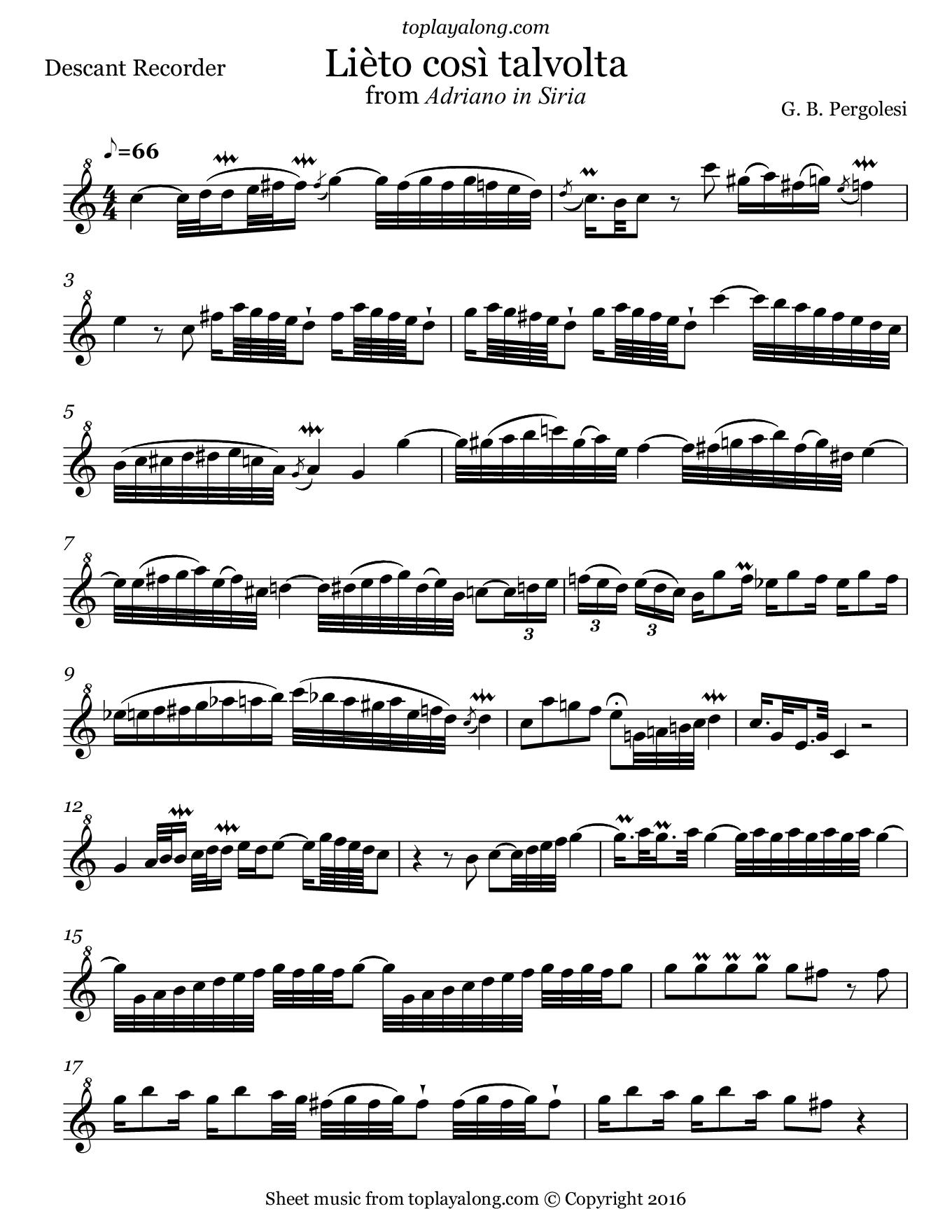 Lièto così talvolta from Adriano in Siria by Pergolesi. Sheet music for Recorder, page 1.