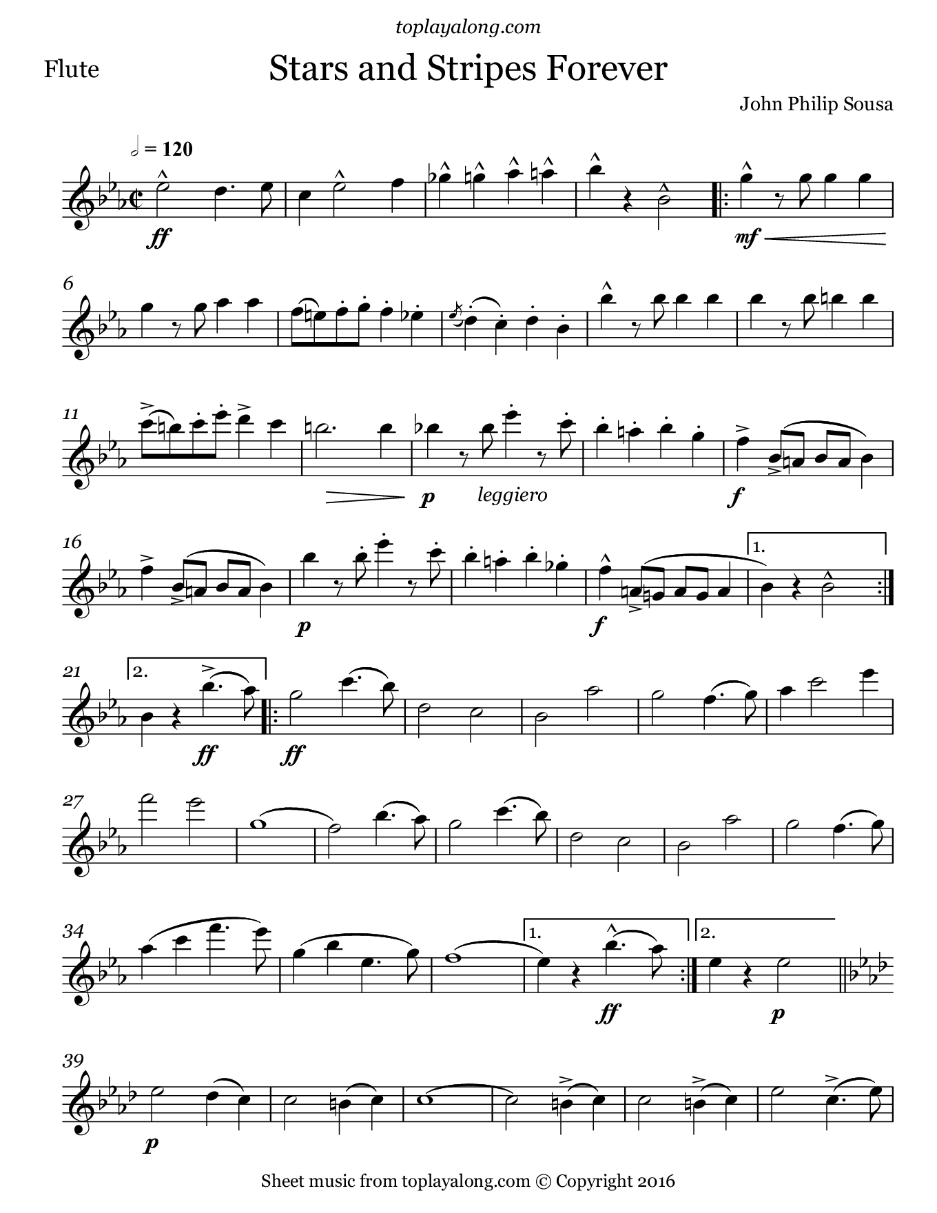 Stars and Stripes Forever by Sousa. Sheet music for Flute, page 1.
