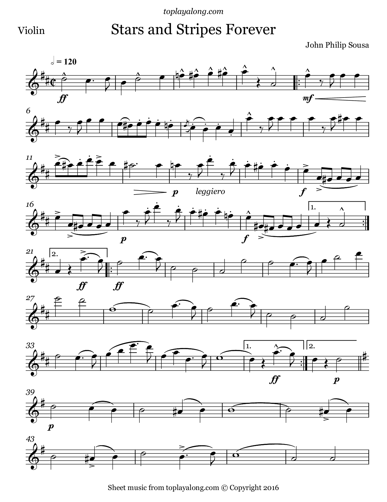 Stars and Stripes Forever by Sousa. Sheet music for Violin, page 1.
