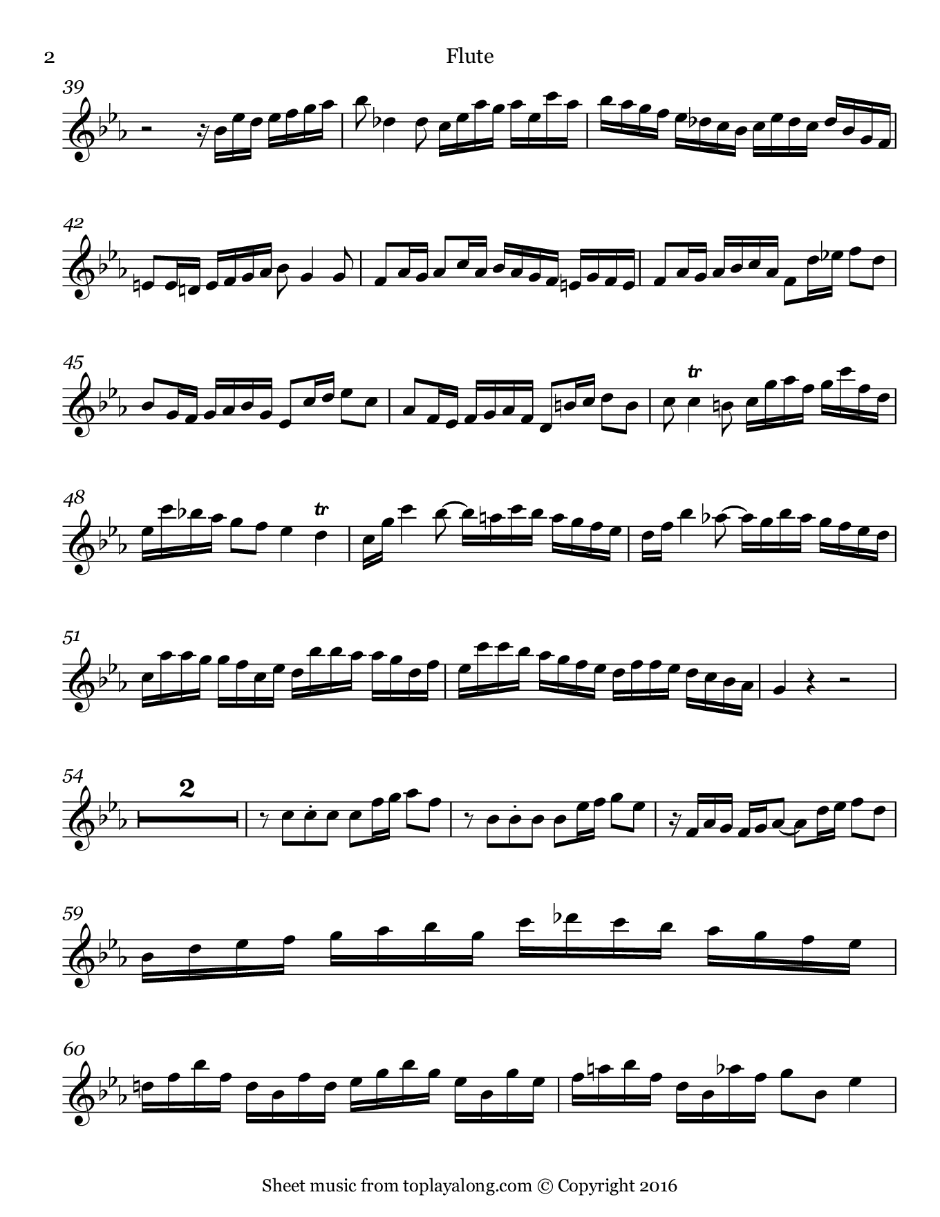 Flute Sonata BWV 1031 (I. Allegro) by J. S. Bach. Sheet music for Flute, page 2.