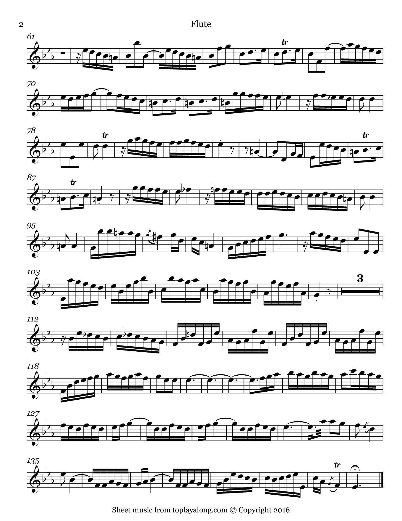 Flute Sonata BWV 1031 (III. Allegro) by J. S. Bach. Sheet music for Flute, page 2.