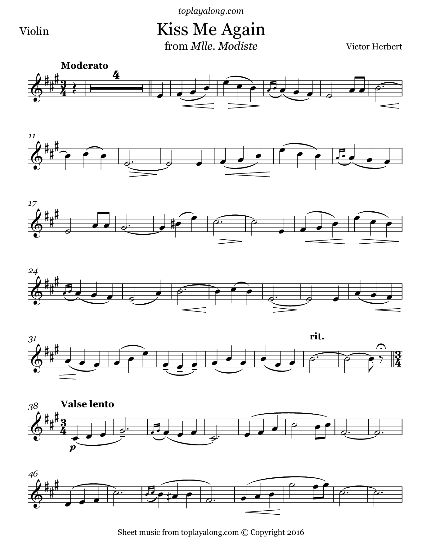 Kiss Me Again from Mlle. Modiste by Herbert. Sheet music for Violin, page 1.