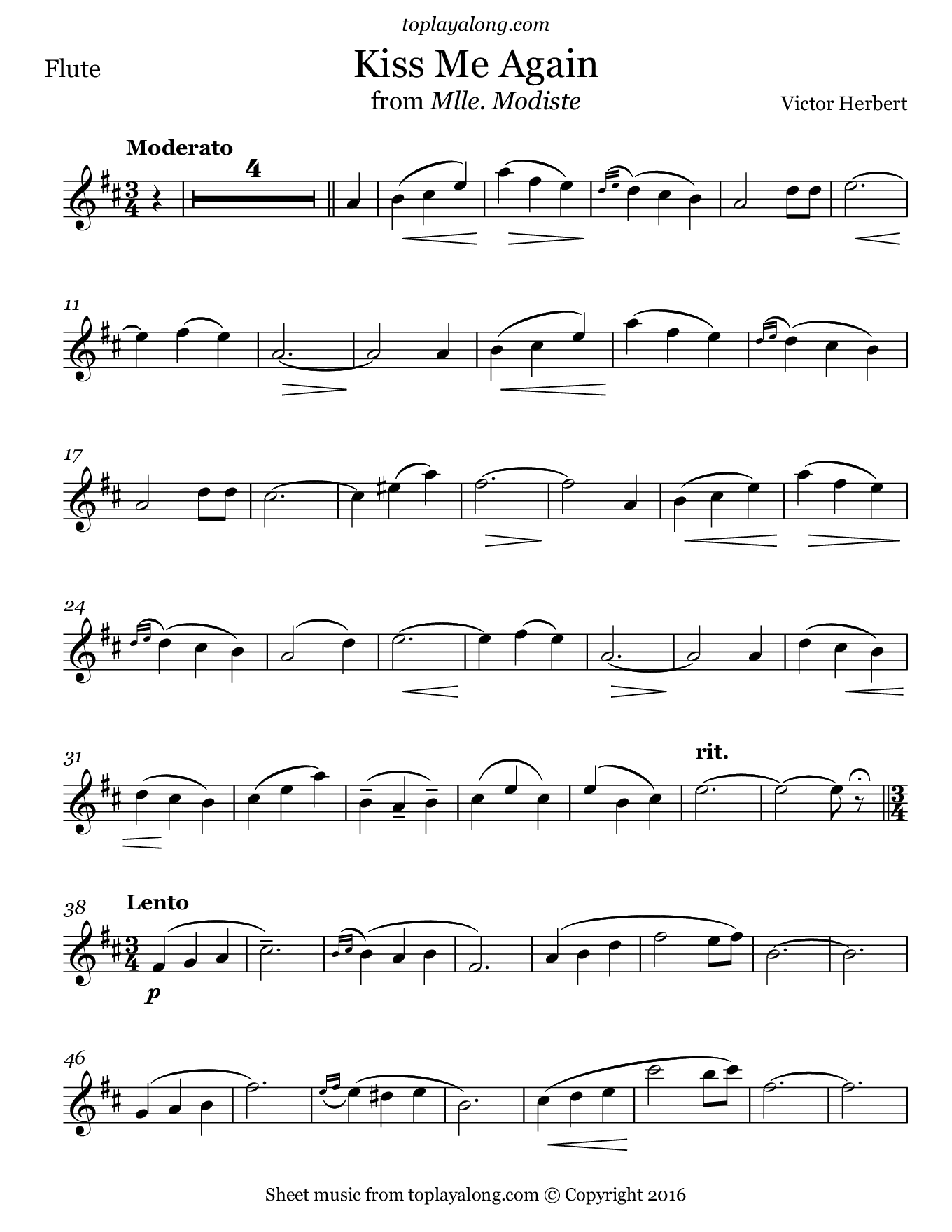 Kiss Me Again from Mlle. Modiste by Herbert. Sheet music for Flute, page 1.