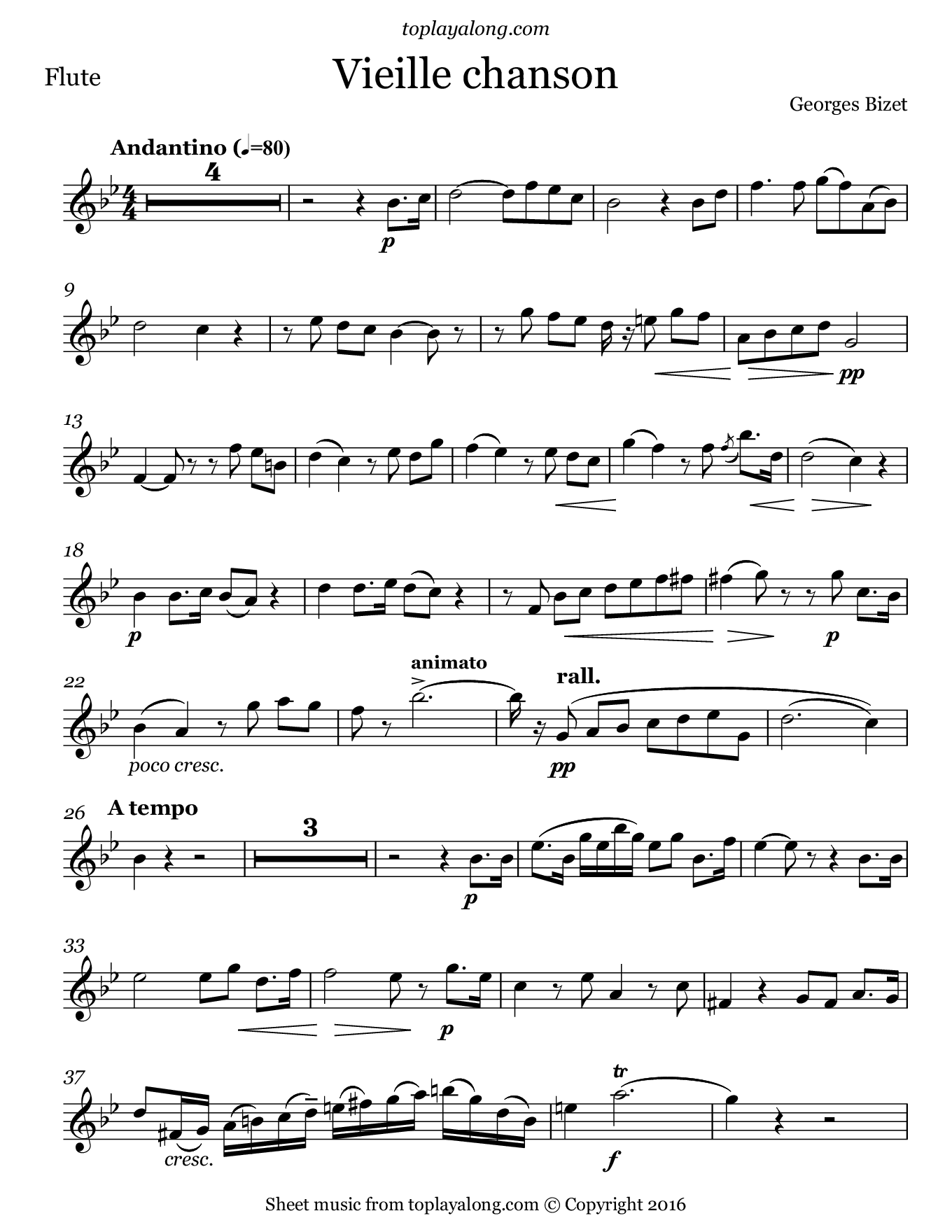 Vieille chanson by Bizet. Sheet music for Flute, page 1.