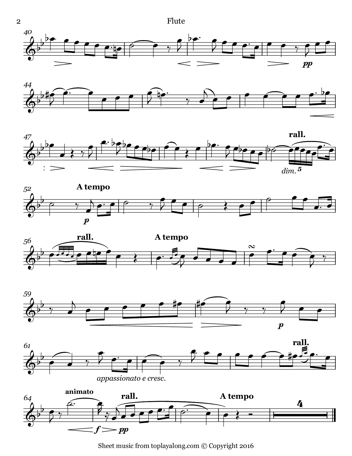 Vieille chanson by Bizet. Sheet music for Flute, page 2.